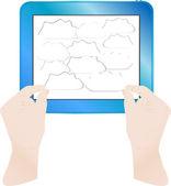 Hände mit Blasen auf Computer Tabletpc. Vektor — Stockvektor