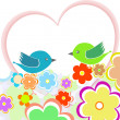 Card with birds on red heart among flowers with place for text — Imagen vectorial
