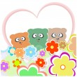 Set teddy bear with many flowers and love heart — Διανυσματική Εικόνα #9204387