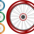 Set of colored bike wheel with tire and spokes isolated on white background — Stock Vector