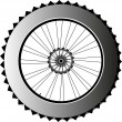 Stock Vector: Metal bike wheel with tire and spokes. vector