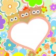 Owls in flowers with big heart. vector — Imagen vectorial