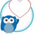 Valentine owl boy with heart. holiday vector card — Imagen vectorial