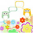 Owl family with flowers and speech bubbles — Stock vektor