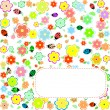 Seamless texture with flowers and ladybirds. floral pattern — Stock Vector