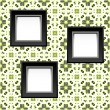 Royalty-Free Stock Vector Image: Three blank white frames on baroque wallpaper. vector
