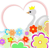 Cute duck in heart with flowers. greeting card — Stock Vector
