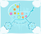 Vector card for babyshower. perambulator for boy — Stock Vector