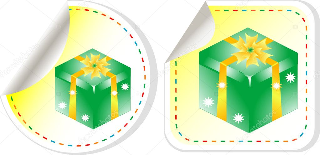 Green holiday box with bow. vector sticker label set  Stock Vector #9447096
