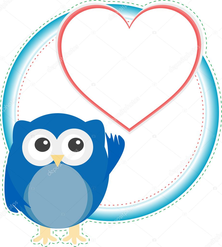 Valentine cute owl boy with heart. holiday vector card — Stock vektor #9447647