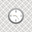 Stock Vector: Grey clock on wall pattern style background