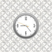 Grey clock on wall pattern style background — ストックベクタ
