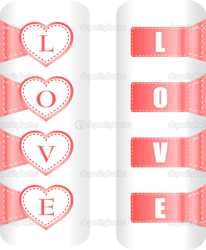 Valentine love heart labels. Vector pattern art  Stock Vector #9912285