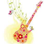 Springtime flower guitar music festival background — Stock Vector