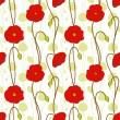 Springtime red poppy flower seamless pattern — Imagen vectorial