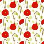 jarní červená Makový květ bezešvé vzor — Stock vektor