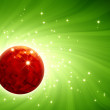 Sparkling disco ball on green burst background — Stock Photo