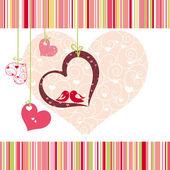 Lovebirds colorful heart shape card design — Stock Vector