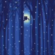 Winter illustration love owl in snowing forest — Stockvectorbeeld