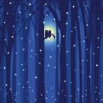 Kış illüstrasyon aşk baykuş kar yağışı orman içinde — Stok Vektör