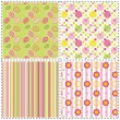 Set of Easter holiday seamless pattern - Stock Vector