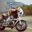 Girl on a motorcycle - Stok fotoraf