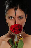 Girl with a rose — Stock Photo