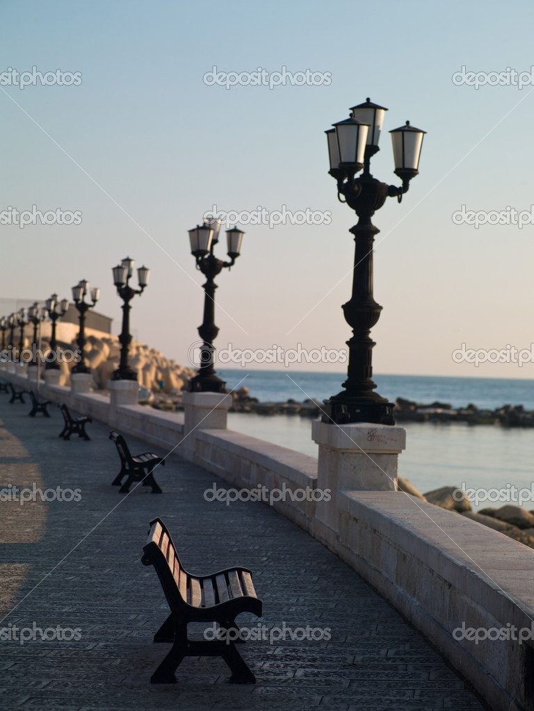 Benches along the waterfront with a vintage lanterns in Bari  Stock Photo #9621293