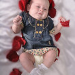 A well-dressed baby with an entourage of red petals — Stock Photo