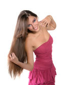 Beautiful brunette girl in pink dress professionally madeup 10 — Stock Photo