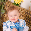 Baby in Ukraininational costume smiling — Stock Photo #8986365