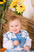Baby in the Ukrainian national costume smiling — Stock Photo