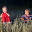 Children are walking in field at dusk — Stock Photo #9414033