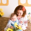 Stock Photo: Mother and child in the Ukrainian national costumes