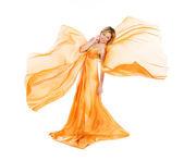 橙色衣服飞行的女孩 — 图库照片