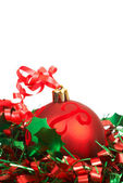 Red Christmas baubles — Stockfoto