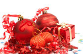Red Christmas baubles — Foto Stock