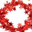 Red Christmas tinsel frame — Stock Photo