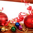 Red and other colorful Christmas baubles — Stock Photo