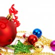 Colorful Christmas baubles and star — Stock Photo
