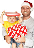 Baby boy with his father for Christmas — Stock Photo
