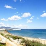 Panoramic of Badalona's beach — Stock Photo
