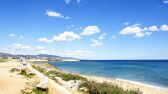 Panoramic of Badalona's beach — Stock Photo