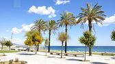 Sight of a walk and Badalona's beach — Stock Photo