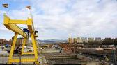 Yellow crane in works in Barcelona — Stock Photo