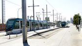 Streetcars in a street — Stock Photo