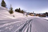 Ski track on a skiing resort — Stock Photo