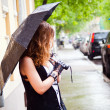 Girl with umbrella in the rain is on the street — Stock Photo #10627857