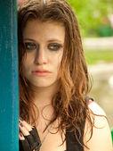 Portrait of a sad girl wet — Stock Photo
