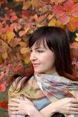 Autumn and girl — Stock Photo